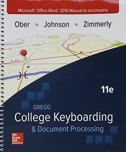 Microsoft Office Word 2016 Manual for Gregg College Keyboarding & Document Processing (GDP) -  Scot Ober, Spiral-bound