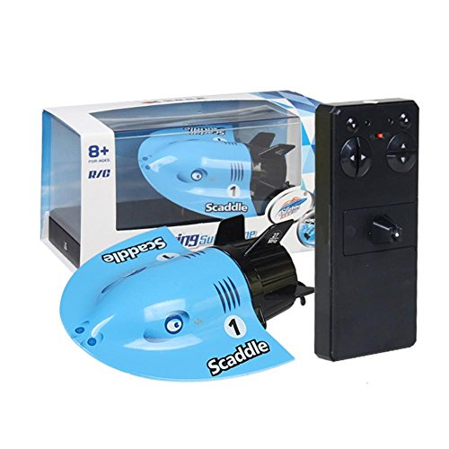 RC潜水艦 リモートコントロール ミニ水中観光ボート モデル ダイビング 水中おもちゃ 小型 クール カラフル 赤外線 充電式 2カラー(ブルー)