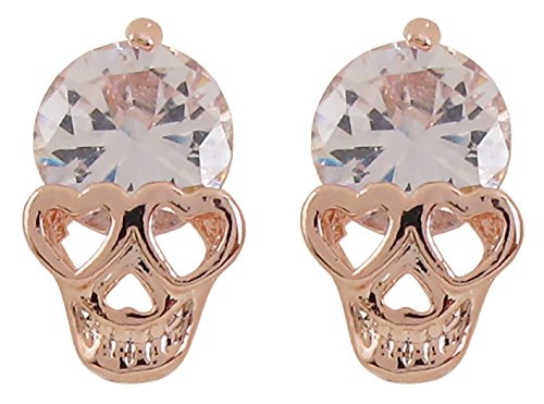 DaisyJewel Halloween White Crystal Love Skull Stud -