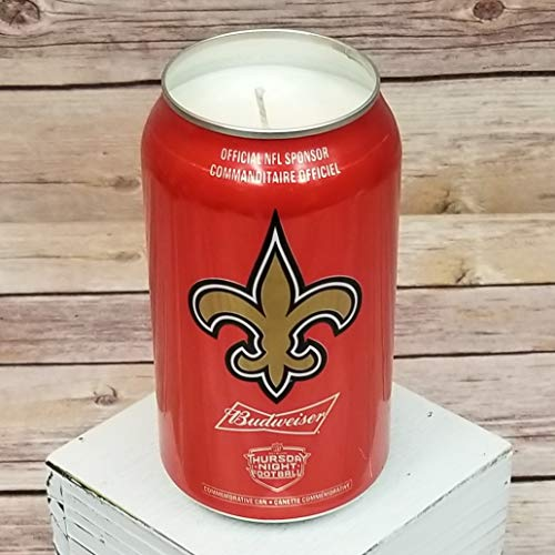 2018 Budweiser Bud NFL New Orleans Saints Team Football Beer Can Soy Candle with Custom Scent (Can from Canada) ()