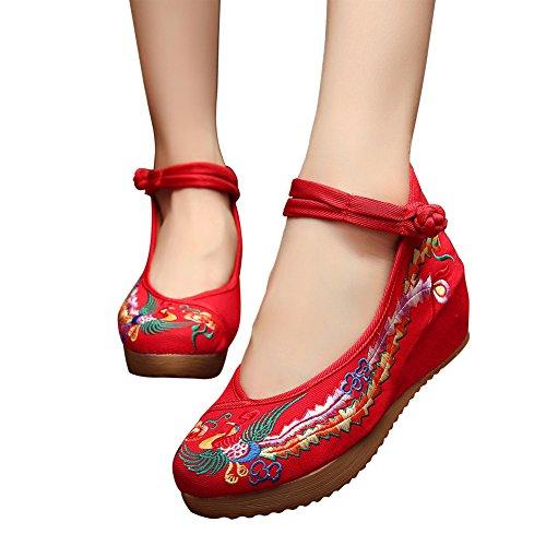 Kvinner Eleganse Kinesisk Broderi Phoenix Sko Uformell Plattform Flate Sandaler Rød