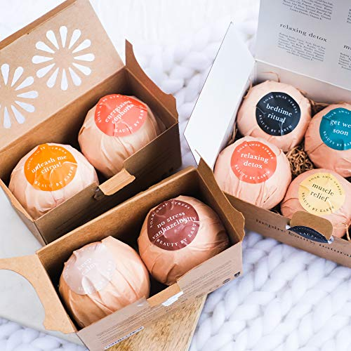 Bath Bombs Set, USA Made w/Organic & Natural Vegan Ingredients, Lush Fragrant Relaxing Essential Oils, Best Gift to Surprise Men, Women and Kids with a Pack of 2 Large Epsom Salt Bathbombs (1 pack)