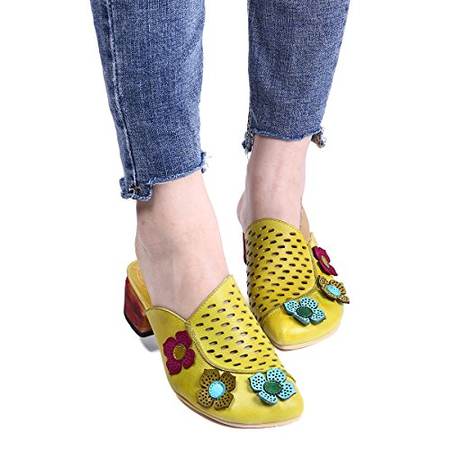 Mules Leather Round Shoes Shoes Toe Shoes Heels Yellow Slippers Sandals gracosy Clogs Mules Platform Women qt8xngga5