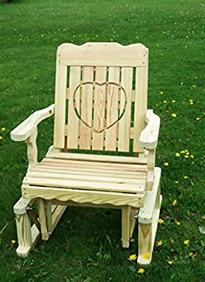 Pressure Treated Pine Designs Unfinished Outdoor Heart Cutout Glider Chair
