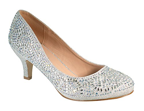 Bertha-14 Women's Round Toe Low Heel Rhinestone Wedding Prom Dress Pump Shoes Silver 9