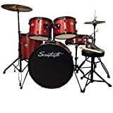 Rise by Sawtooth Full Size Student Drum Set with Hardware and Zildjian Cymbals, Crimson Red Sparkle
