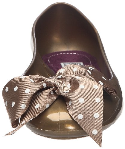 Colors of California Jelly Ballerina with fantasy printed ribbon HC.J005F - Bailarinas de caucho para mujer Marrón (Marron)