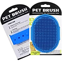 Premium Dog Bathing brush, Soothing Massage Comb, Pet Grooming brush for long and short haired pets, Adjustable ring…