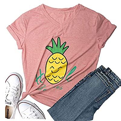 Hellopopgo Pineapple Printed Funny T Shirt Women's Summer Tops Fruits Lover Short Sleeve Graphic Tees Tops Girl