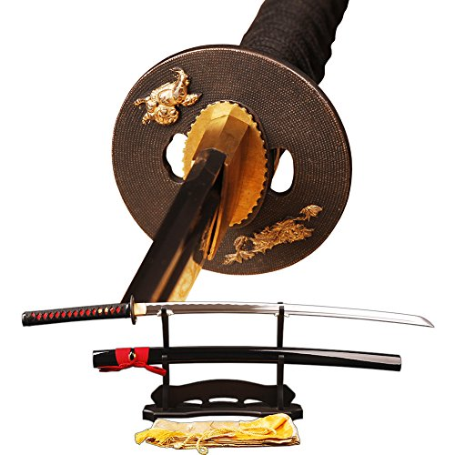 Handmade Japanese Samurai Katana Sword,Fuctional,Hand Forged,1060 Carbon Steel,Damascus,Full Tang,Real Sharp,Shiny Black Scabbard