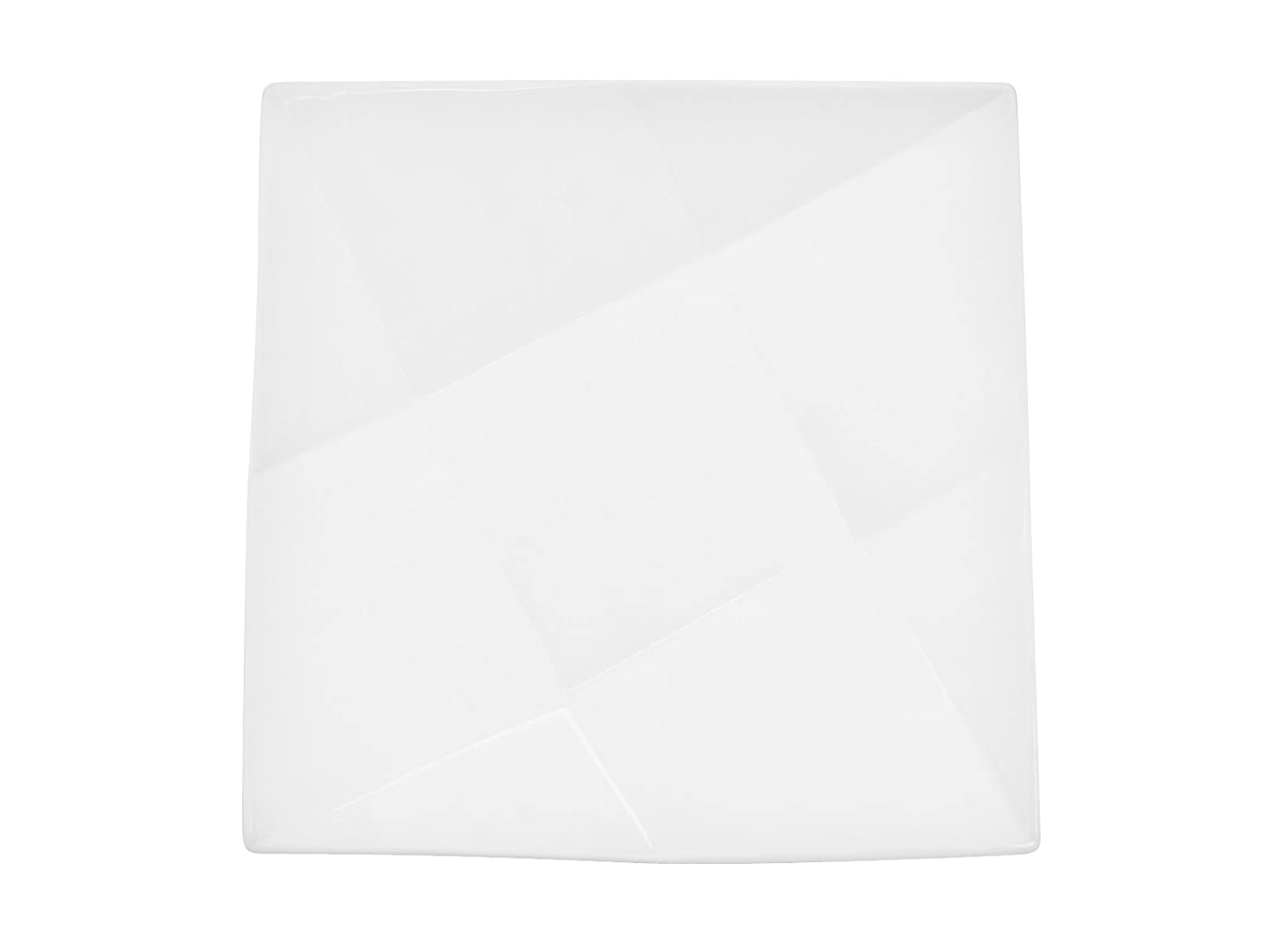 CAC China QZT-6 Crystal 6-Inch Super White Porcelain Square Plate, Box of 36