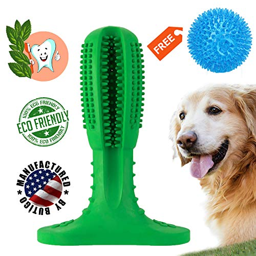 Dog Toothbrush Stick with Squeaky Dog Toys Ball Doggy Teeth Cleaning Puppy Chew Toys Massager Natural Rubber Bite Resistant Dogs Dental Care Brushing Stick for Pets