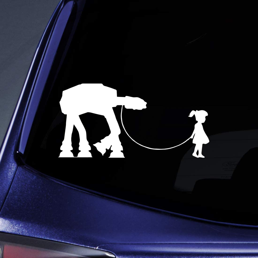 "Bargain Max Decals - Girl Walking Robot - Sticker Decal Notebook Car Laptop 8"" (White)"