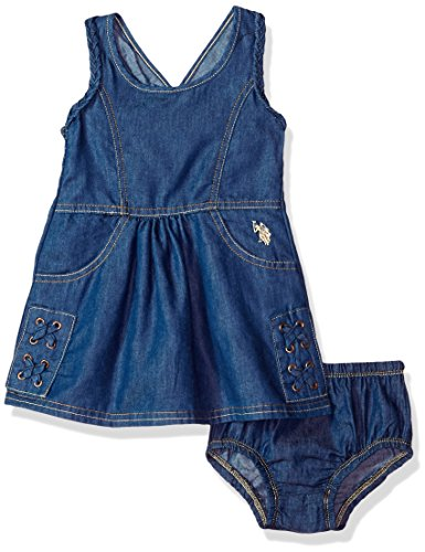 U.S. Polo Assn. Baby Girls Casual Dress, Smocking Back lace up Piecing Medium wash, 12M (Us Baby Assn Polo Girl)