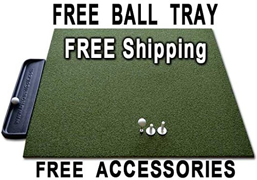 Golf Mat 4' x 5' Dura-Pro Plus Residential Golf Hitting Mat FREE Golf Ball Tray, FREE Balls, FREE Tees - FREE SHIPPING - 8 Year UV Warranty - Dura-Pro Golf Mats Make All Other Golf Mats Obsolete! Family Owned And Operated Since 1997. As Seen On The Golf Channel TV (Plus Mat)