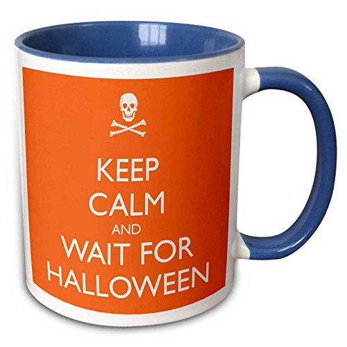 3dRose EvaDane - Funny Quotes - Keep calm and wait for Halloween, Orange - 15oz Two-Tone Blue Mug -