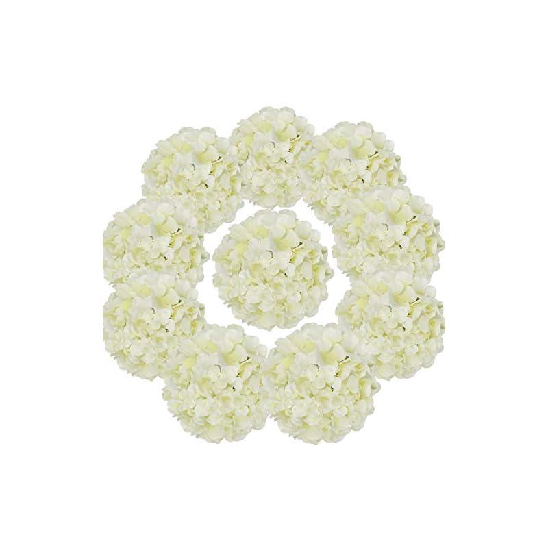 silk flower arrangements flojery silk hydrangea heads artificial flowers heads with stems for home wedding decor,pack of 10 (ivory)