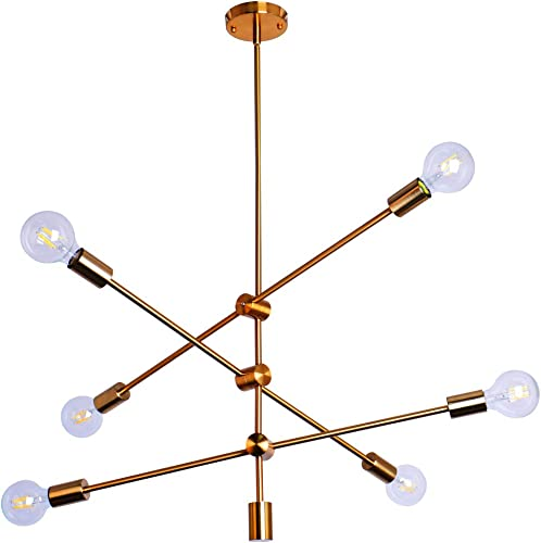 Ncmoyin Sputnik Chandeliers Light Fixture 6 Lights Farmhouse Ceiling Hanging Pendant Light