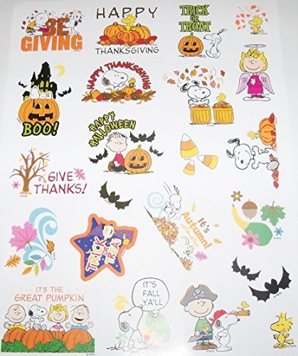 Peanuts Snoopy Fall, Halloween & Thanksgiving Stickers ~ It's Fall Ya'll, Angel Lucy, Be Giving! (22 Stickers; -