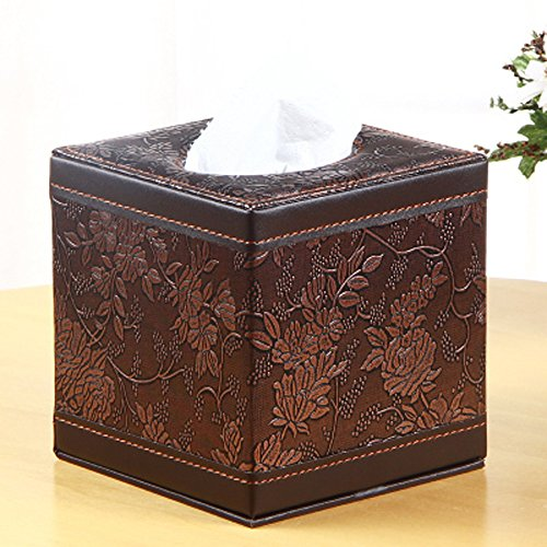 PU Leather Square Cube Tissue Box Cover Roll paper Holder for home office Car (Classic Carve)