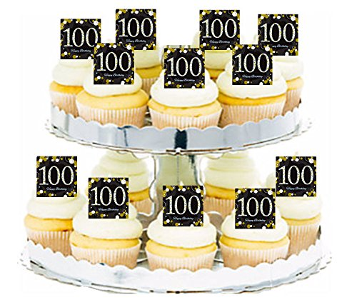 Happy 100th Birthday Black & Gold 24pk Edible Cupcake Decoration Topper Picks