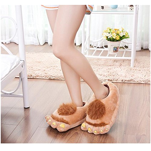 Aksautoparts Unisex Adult Cartoon Cotton Hobbit big feet Slippers Shoes Indoor Warmth (Apricot) (Kids Hobbit Feet)