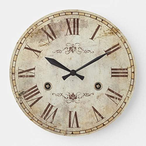 Vintage Barnwood Wood Wall Clock  Whisper Quiet Non ticking