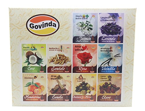 Govinda Incense Cones - Assorted - 12 Packs of 10 Conse Each - With Six Different Scents
