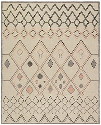 Rivet Handtufted Diamond-Patterned Cotton and Wool Rug, 8 x 10 , Ivory with Charcoal and Blush