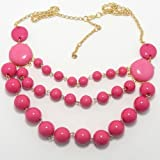 Pro Jewelry Bib Bauble Necklace in Gold w/ Pink Acrylic Beads 0049-1