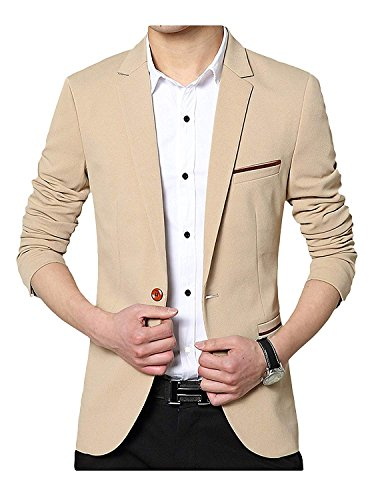 GEEK LIGHTING Slim Fit Single One Button Blazer Jackets for Men (US Medium/Label 3X-Large, A-Khaki)