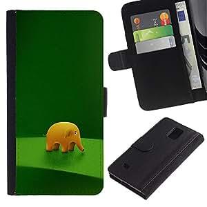 Billetera de Cuero Caso Titular de la tarjeta Carcasa Funda para Samsung Galaxy Note 4 SM-N910 / Funny Cute Elephant / STRONG