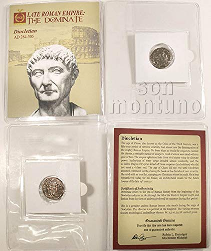 DIOCLETIAN - Ancient Roman Bronze Coin in Folder with Certificate of Authenticity 284-305 AD