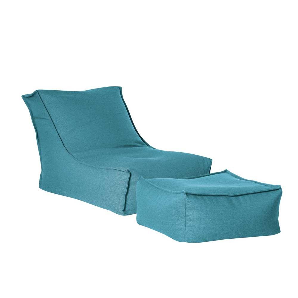 Pharao24 Sessel Sitzsack in Türkis Fußhocker Tiefe 180 cm mit Fußhocker Ja