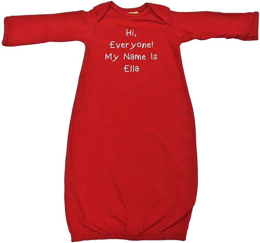 Mashed Clothing Hi My Name is Ella Personalized Name Baby Cotton Sleeper Gown Everyone