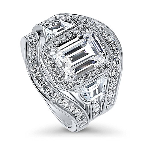 (BERRICLE Rhodium Plated Sterling Silver Emerald Cut Cubic Zirconia CZ Halo Engagement Wedding Ring Set 4.68 CTW Size 7)