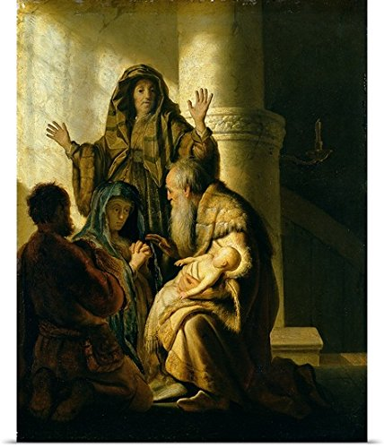 Rijn (1606-1669) van Rembrandt Poster Print entitled Simeon and Hannah in the Temple, c.1627