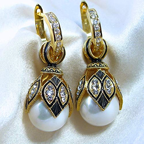 (WHITE PEARL EARRINGS Russian Faberge Style Egg-shaped, 925 Sterling Silver, Swarovski Crystals, Black Guilloché Enamel, 24k Gold, Silver Hoops with Cubic Zirconia, Gift for Her Jewelry for Woman Girls)