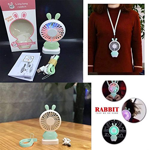 RingRingshop®® Handheld Small Fan Portable Rechargeable Mini Cooling Fan Multi-color LED Light Linglong rabbit Fan Standable Hanging Fan Gifts for Home Travel Indoor Outdoor Baby Kids (Green Rabbit) by RingRingshop® (Image #6)