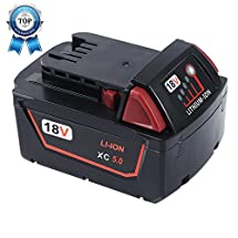 BatteryShop Battery Packs For Milwaukee M18 18V XC 5.0Ah High Capacity Red Lithium Cordless Power Tools 48-11-1840 48-11-1850