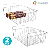 2pcs 15.8' Under Cabinet Storage Shelf Wire Basket Organizer for Cabinet Thickness Max 1.2 inch, Extra Storage Space on Kitchen Counter Pantry Desk Bookshelf Cupboard, Anti Rust Stainless Steel Rack