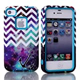 iPhone 4 Case,iPhone 4s Case, MAKEIT Hybrid Shockproof Cover Hard Armor Shell and Silicone Skin Chevron Pattern with Anchor Design Case Cover for iphone 4 4s, Screen Protector and Stylus (Blue)