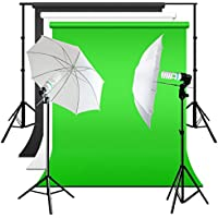 Julius Studio Umbrella Reflector Lighting Studio Kit with Muslin Backdrop and Support Structure, Black, White, Green Background, Energy Saving Photo Bulb, Light Stand Tripod, Photo Studio, JSAG261