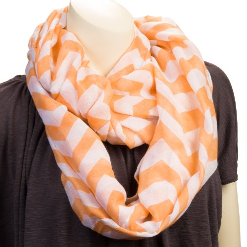 Silverhooks Womens Soft Infinity Circle Sheer Chevron Scarf (Peach/White)