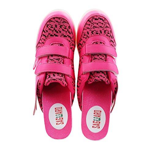 SAGUARO® Unisex niños USB Carga LED Luz Luminosas Flash Zapatos Zapatillas de Deporte para Los Reyes Magos Pink 1