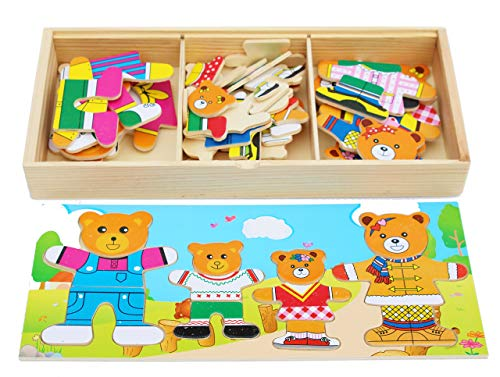 Wooden Bear Family Dress-up Puzzle Box - Sorting and Matching- Wooden Sorting Toys for 3 Year Old