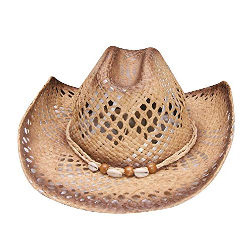 MINAKOLIFE Men's & Women's Western Style Cowboy/Cowgirl Straw Hat (Shell Beads)