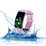 Fitness Tracker - Naxxlab Smart Bluetooth Heart Rate Monitor Bracelet - Waterproof Pedometer Wristband Step Activity Tracker Smart Watch for Android and IOS Smartphones (Pink)