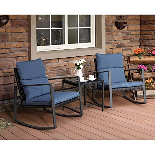COSIEST 3-Piece Outdoor Patio Furniture Rocking Chairs Bistro Set w Blue Cushions, Glass-Top Table for Garden, Pool, Backyard