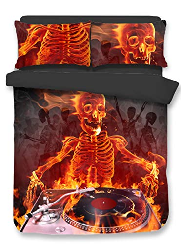 Abojoy 3D Skull Playing Music CD Player Fire Duvet Cover Sets, Hotel Quality Microfiber Men Teens Boys Kids Children Comforter Cover 2pc Halloween Bedding Set, Twin ()